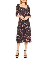 Alexia Admor Puff-sleeve Floral A-line Dress - Black