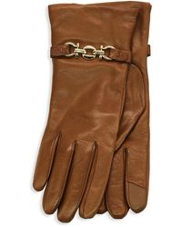 Portolano Leather Cashmere-lined Gloves - Brown