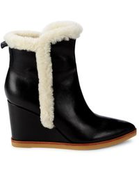 Marc Fisher Women's Namsu Leather, Suede & Shearling Fur Wedge Booties - Natural Suede - Size 9.5 - Black