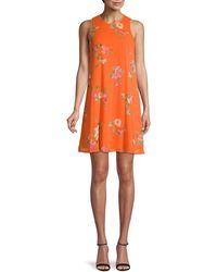 Calvin Klein Floral Chiffon Shift Dress - Orange
