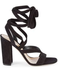 603b703677c7 Gianvito Rossi - Janis Strappy Suede Heeled Sandals - Lyst