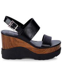 MICHAEL Michael Kors Women's Rhett Leather Platform Wedge Sandals - Black - Size 6
