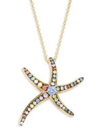 Effy Women's 14k Yellow Gold & Multicolored Sapphire Starfish Pendant Necklace - Metallic