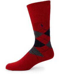 Polo Ralph Lauren Men's Argyle Tartan Crew Socks - Tartan Red