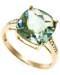 Effy August 14k Yellow Diamond & Green Amethyst Ring/size 7