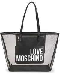 Love Moschino Transparent Mesh Logo Tote - Black