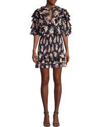 Rebecca Taylor Bouquet Ruffle Silk-blend Dress - Black