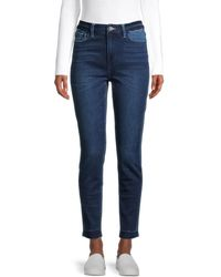 Flying Monkey High-rise Seamless Waistband Ankle Skinny Jeans - Blue