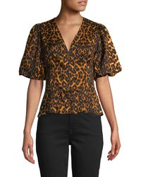 French Connection Leopard-print Puffed-sleeve Top - Black