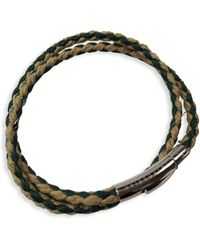 Tateossian Stainless Steel & Leather Wrap Bracelet - Green