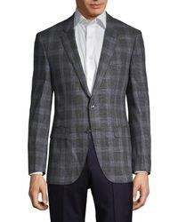 BOSS by Hugo Boss Men's Standard-fit Plaid Sportcoat - Dark Grey - Size 36 R