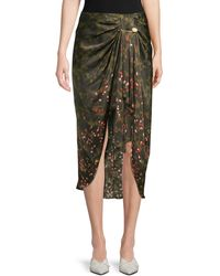 Mother Of Pearl Emma Camo Floral Ruched Midi Skirt - Green