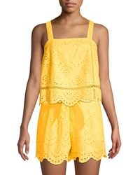 7 For All Mankind Squareneck Eyelet Cotton Tank Top - Yellow