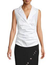 Donna Karan Notch Collar Tank - White