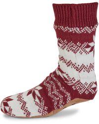 DKNY Fair Isle Slipper Socks - Red