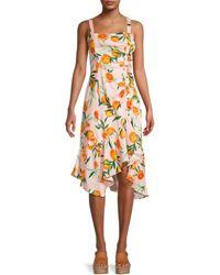 Parker Millie Citrus-print Linen Dress - Yellow