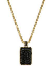 Effy - Men's 18k Goldplated Sterling Silver & Black Spinel Pendant Necklace - Lyst