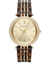 MICHAEL Michael Kors Women's Darci Goldtone Stainless Steel And Tortoise Acetate Bracelet Watch - Metallic
