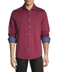 Bugatchi Dotted Long-sleeve Shirt - Red