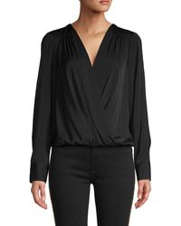 BCBGMAXAZRIA Faux-wrap Long Sleeve Bodysuit - Black
