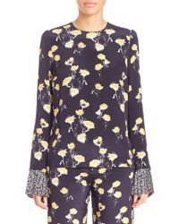 Mother Of Pearl Hester Floral Blouse - Blue