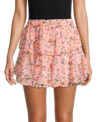 LoveShackFancy Women's Ruffled Silk Mini Skirt - Sunset Pink - Size Xs