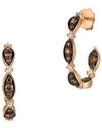 Le Vian - 14k Strawberry Gold Vanilla Diamonds® & Chocolate Diamonds Open Hoop Earrings - Lyst