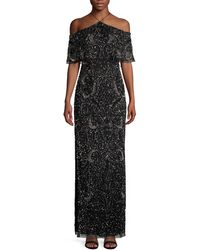 Aidan Mattox Embellished Cold-shoulder Gown - Black