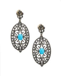 Bavna - Champagne Diamond, Turquoise & Sterling Silver Earrings - Lyst