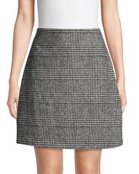 Pure Navy Houndstooth Plaid A-line Skirt - Black