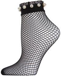 Memoi Faux Pearl Ruffle-cuff Fishnet Anklet Socks - White