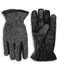 Surell - Knit Leather Gloves - Lyst