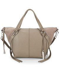 Vince Camuto Winged Leather & Suede Satchel - Gray