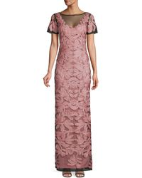 JS Collections Soutache Embroidered Illusion Gown - Pink