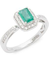 Effy - 14k White Gold, Diamonds And Emerald Ring - Lyst