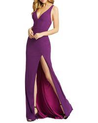 Mac Duggal Women's High-slit Cascading Column Gown - Aubergine - Size 16 - Purple