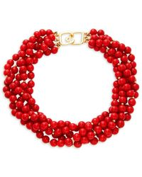 Kenneth Jay Lane Women's 22k Gold Electroplated Multi-strand Beaded Collar Necklace - Metallic