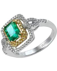 Effy - Brasilica 14kt. Yellow And White Gold Emerald Diamond Ring - Lyst