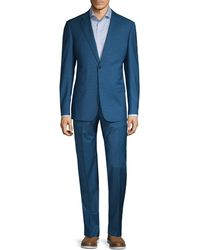 Armani Classic-fit Mini Check Wool Suit - Blue