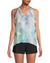 Parker Women's Conroy Pastel-print Silk-blend Top - Pastel Swirl - Size Xxl - Blue