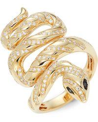 Effy Serpent 14k Yellow Gold & 0.64 Tcw White & Black Diamonds - Multicolour