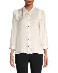 Zadig & Voltaire Mandarin Collar Satin Shirt - White