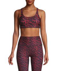 WEAR IT TO HEART Women's Cheetah-print Sports Bra - Red Cheetah - Size L - Multicolour