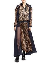 Sacai Leopard Satin & Chiffon Pleated Dress - Natural