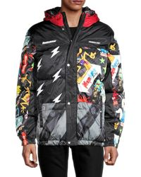 Members Only Men's X Nickelodeon Mashup Puffer - Black Red - Size L