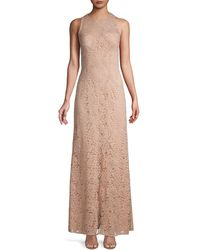 JS Collections Lace Sleeveless Column Gown - Pink