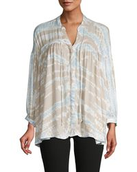 Young Fabulous & Broke Printed Tie-front Top - Multicolour