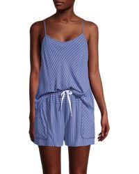 DKNY Striped 2-piece Camisole & Boxers Pyjamas Set - Blue