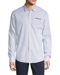 Scotch & Soda Printed Cotton Button-down Shirt - Blue