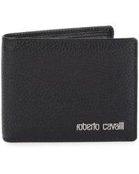 Roberto Cavalli Men's Bi-fold Leather Wallet - Black